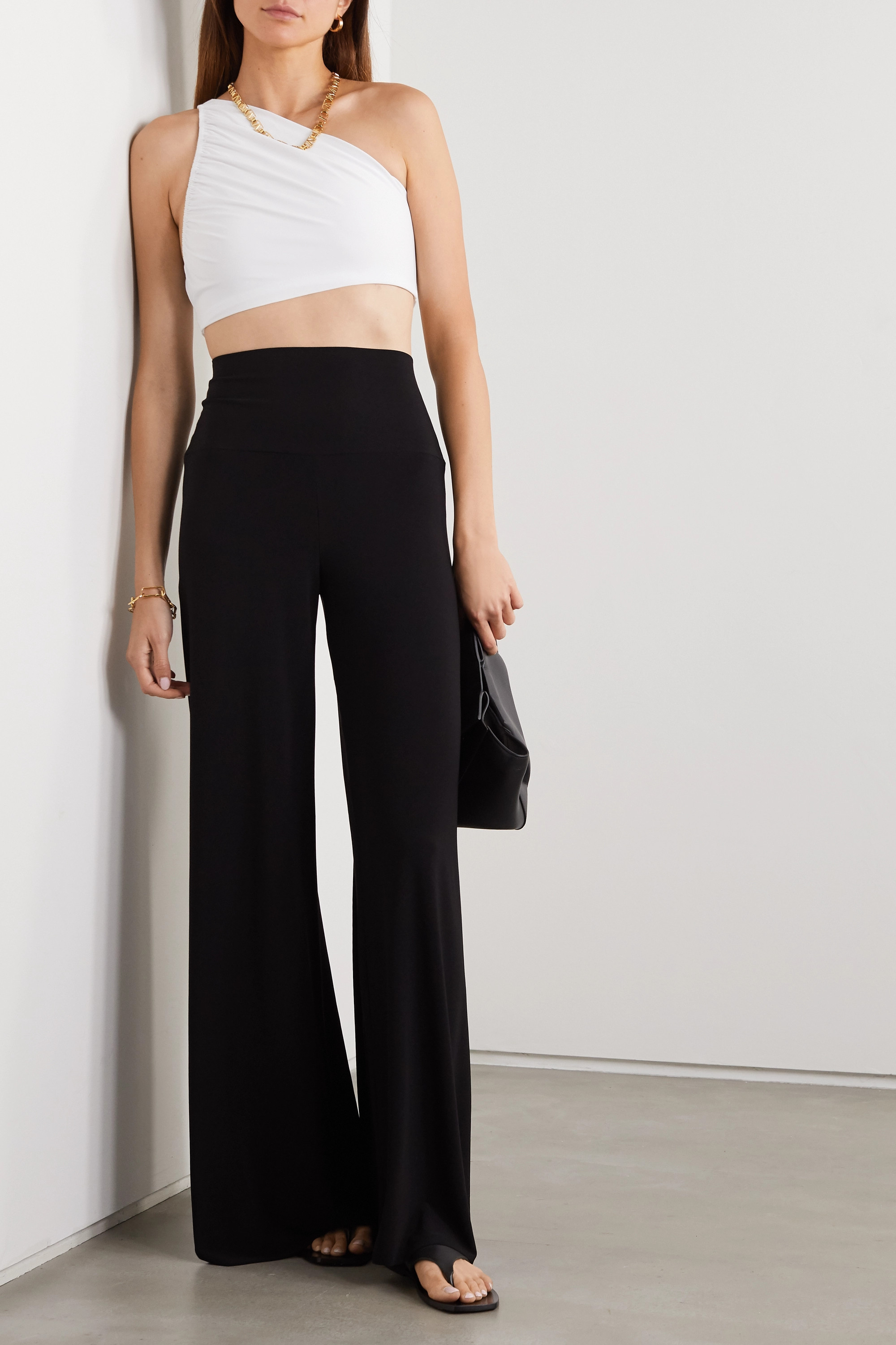 Norma Kamali Diana cropped one-shoulder stretch-jersey top