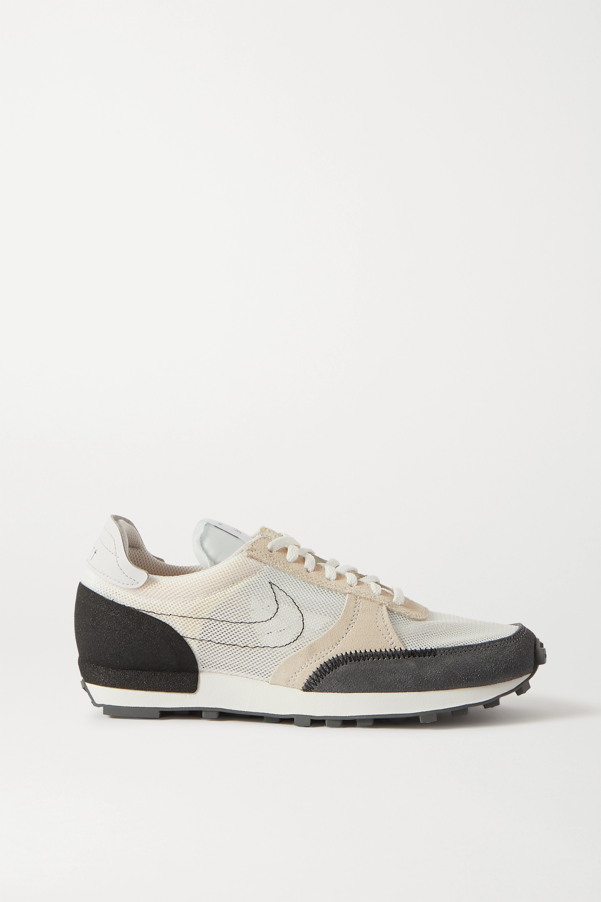 Nike Daybreak Type leather-trimmed embroidered mesh and suede sneakers