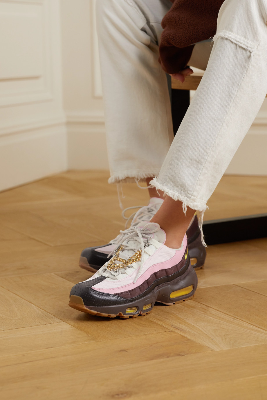 Nike Air Max 95 chain-embellished leather, suede and mesh sneakers