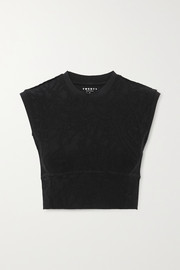TWENTY Montréal Pollock 3D Active cropped stretch jacquard-knit top