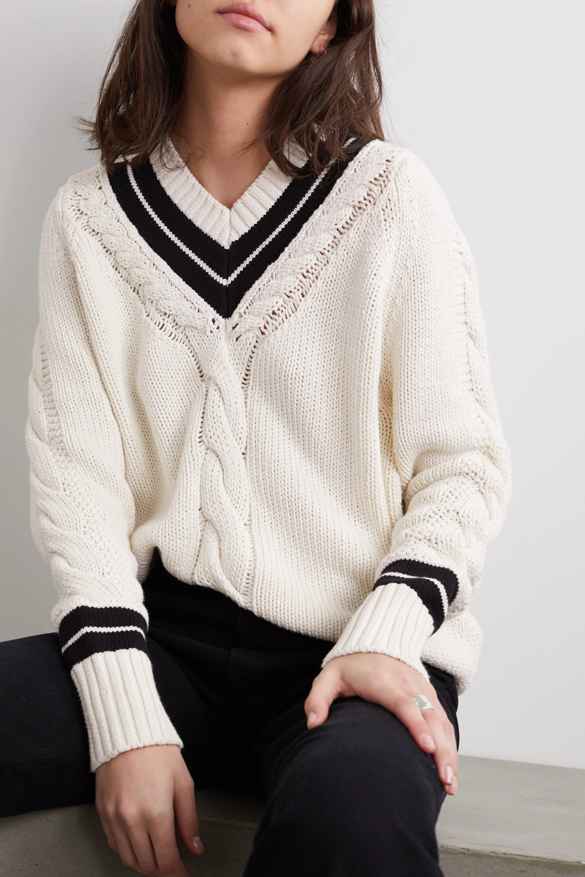 RE/DONE 90s two-tone cable-knit cotton-blend sweater