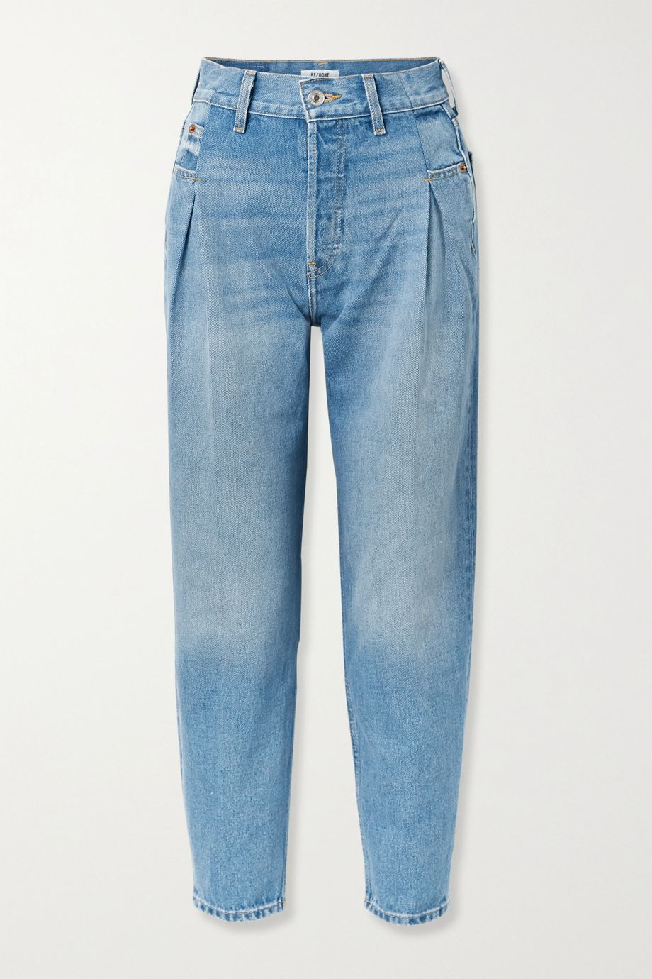 RE/DONE 40s Zoot pleated high-rise tapered jeans