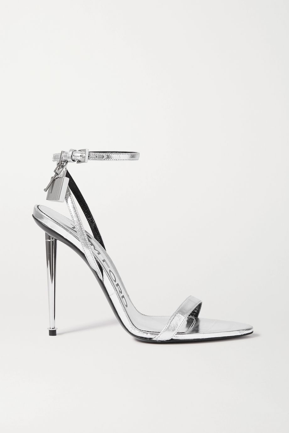TOM FORD Padlock embellished metallic eel sandals