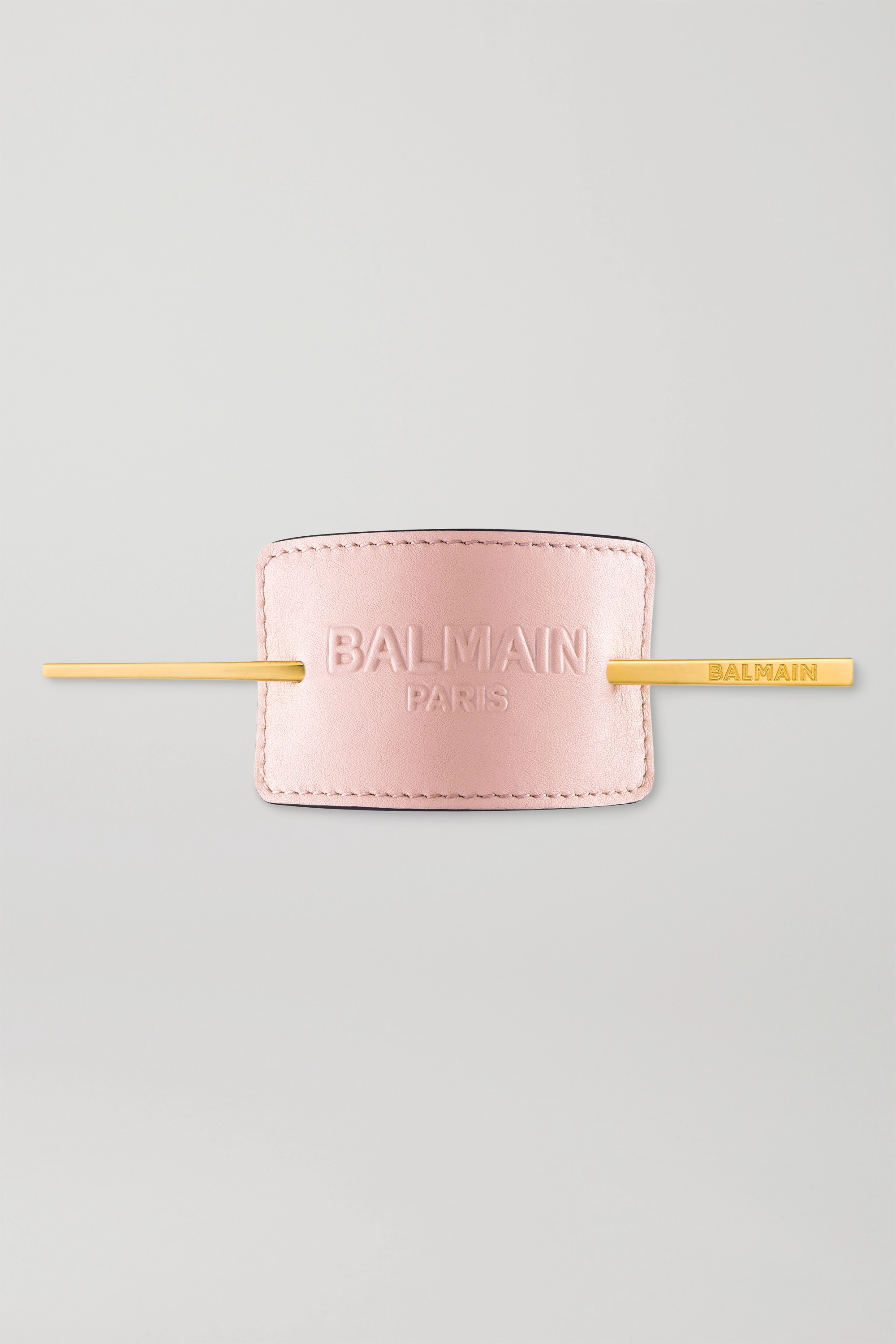 Balmain Paris Hair Couture Gold-plated And Embossed Leather Hair Pin - Baby-pink In Baby Pink