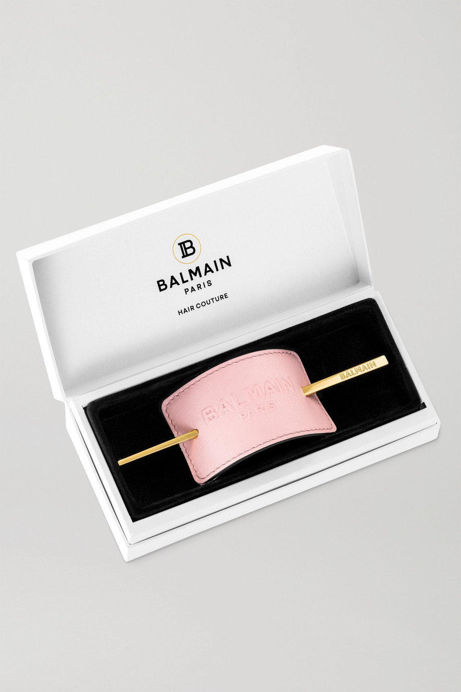 Balmain Paris Hair Couture Gold-plated and embossed leather hair pin - Baby-pink