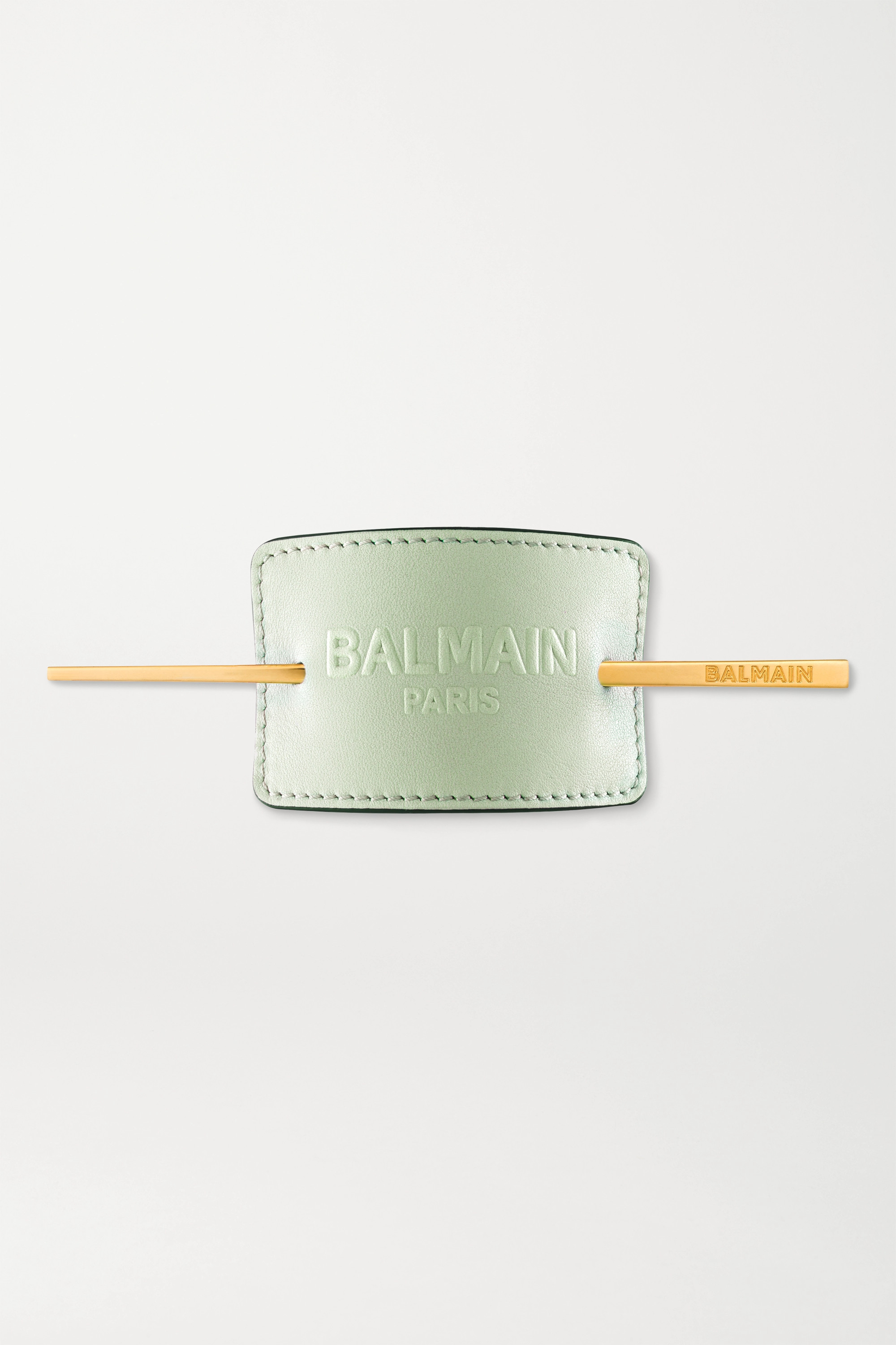 Balmain Paris Hair Couture Gold-plated And Embossed Leather Hair Pin - Mint In Green