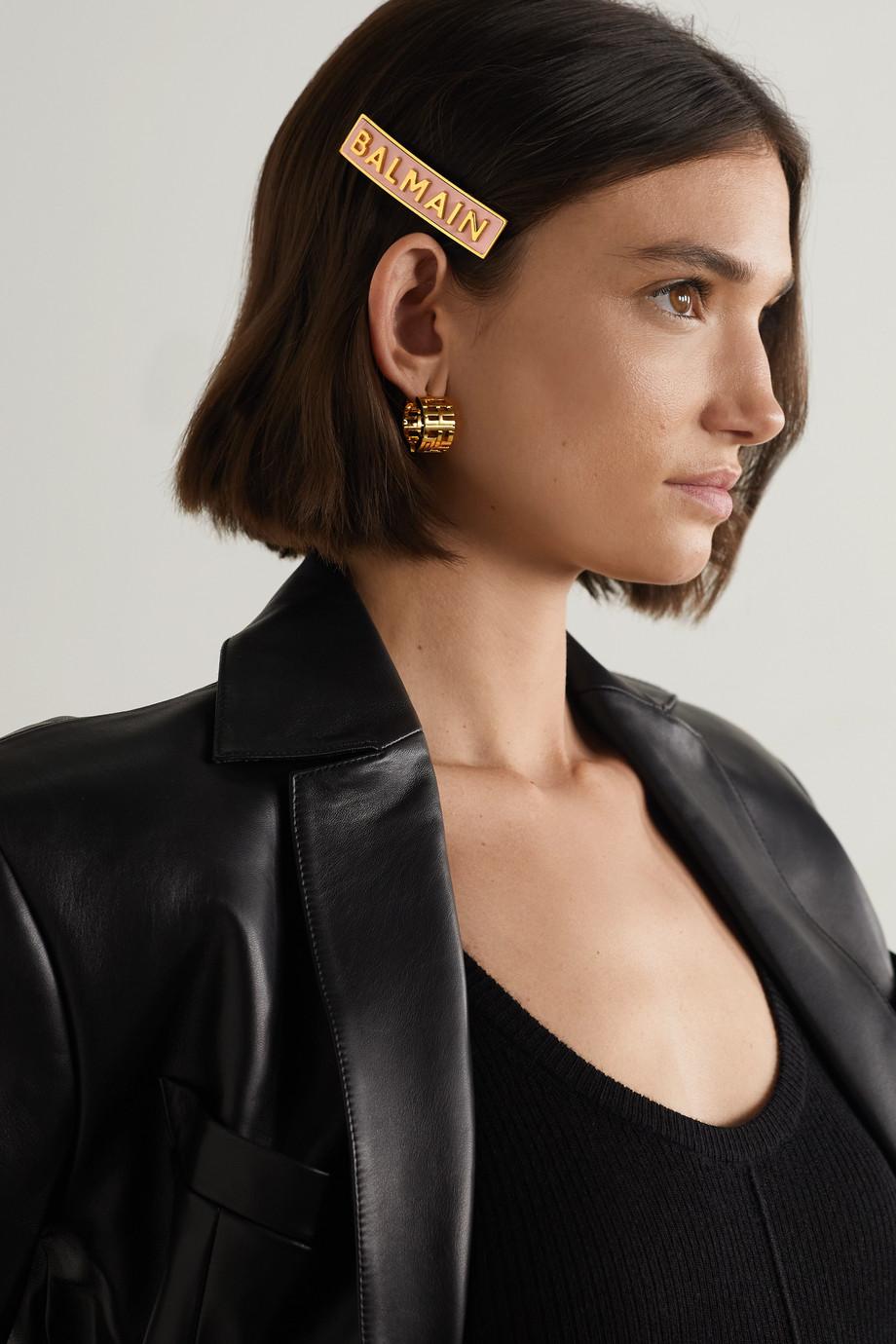 Balmain Paris Hair Couture Vergoldete Haarspange mit Leder