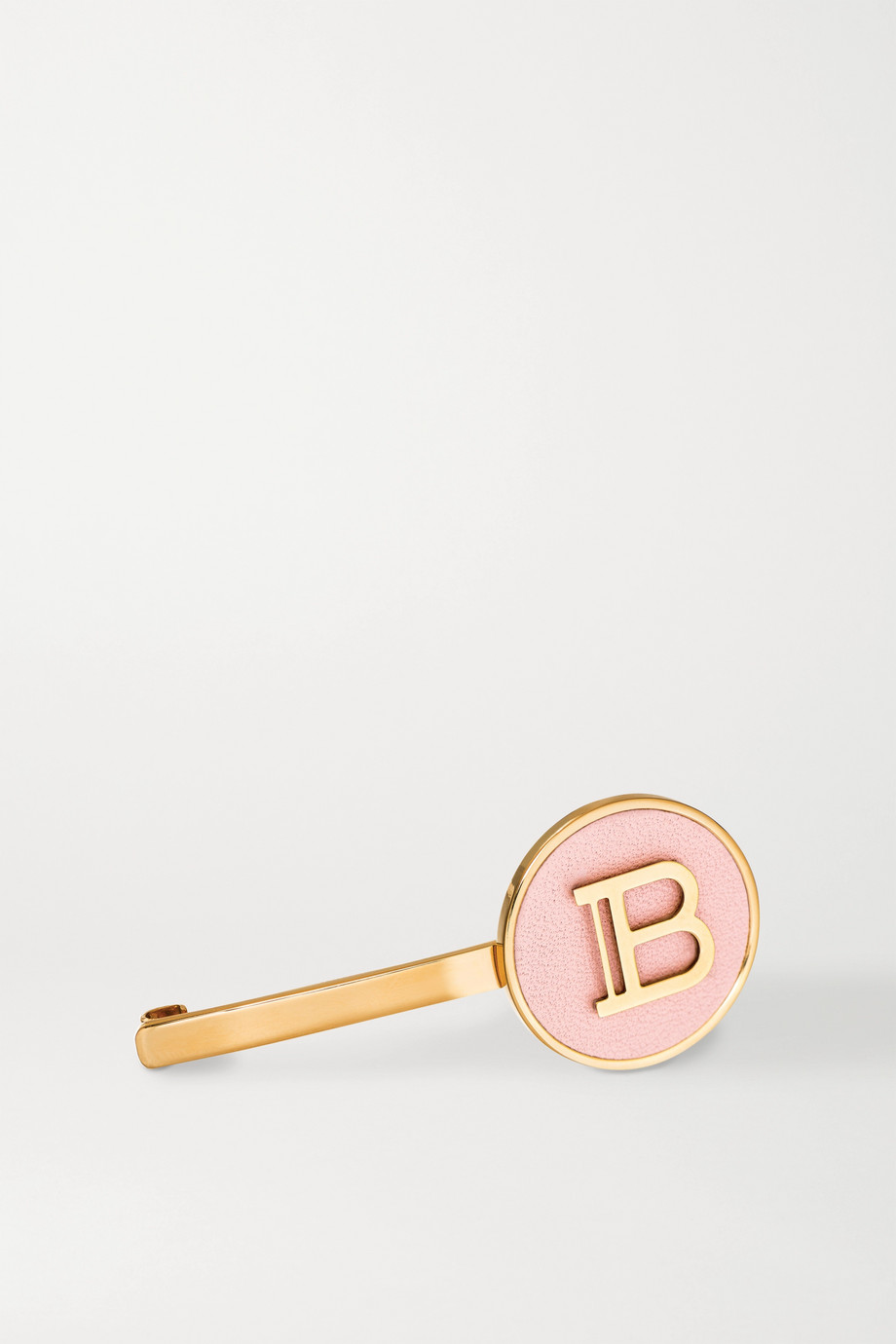 Balmain Paris Hair Couture Gold-plated and leather hair slide