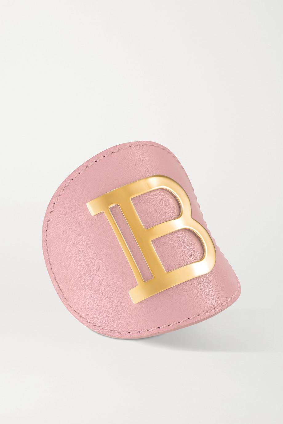 Balmain Paris Hair Couture Haarspange aus Leder mit vergoldetem Detail