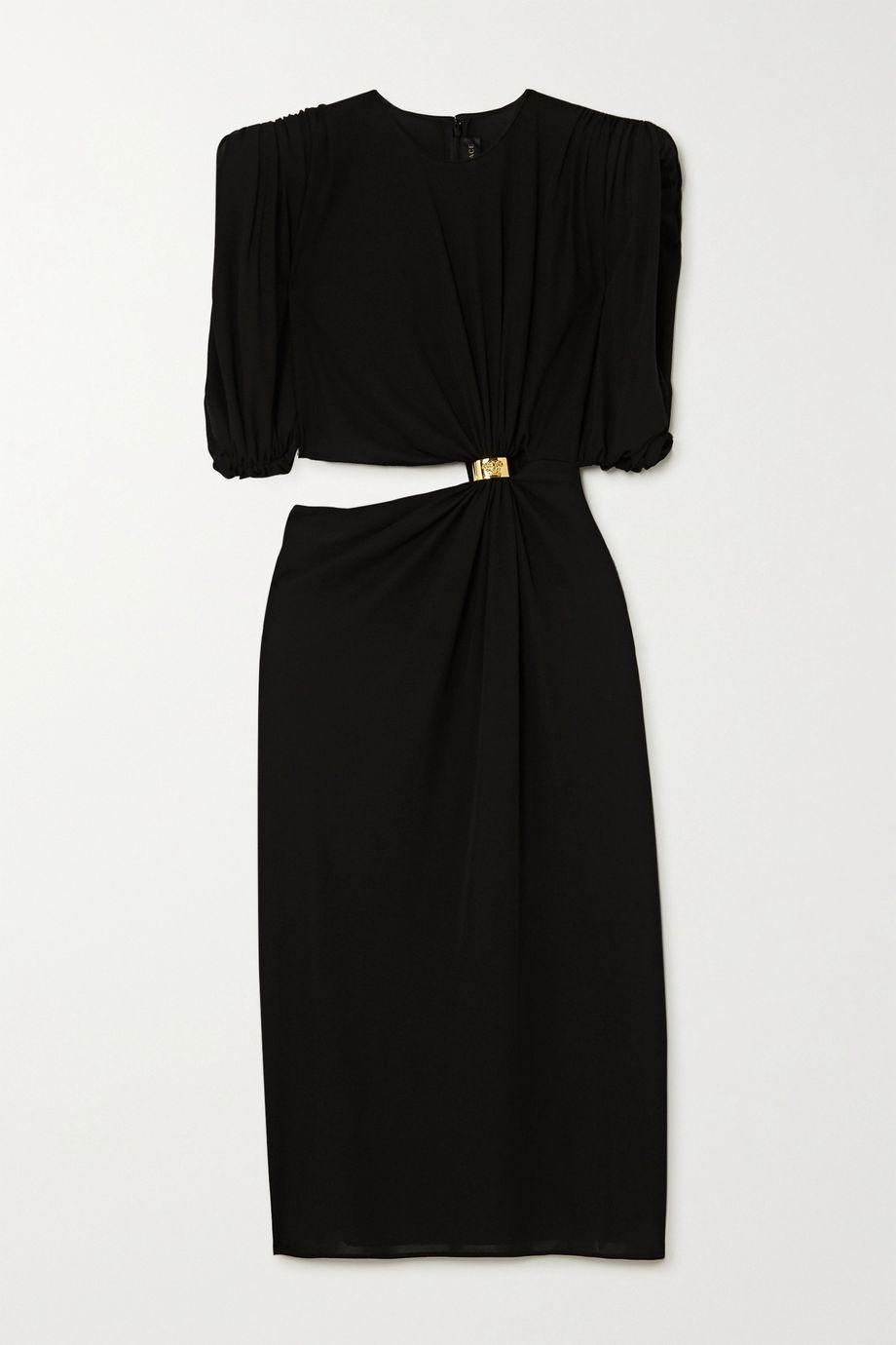 Versace Embellished cutout ruched jersey midi dress