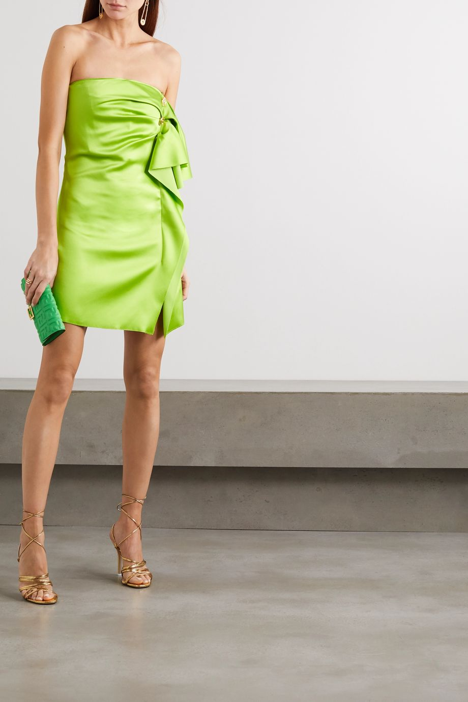 Versace Button-embellished strapless draped satin mini dress