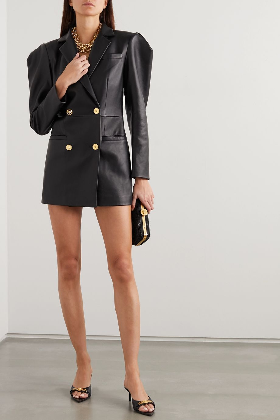Versace Double-breasted leather mini dress