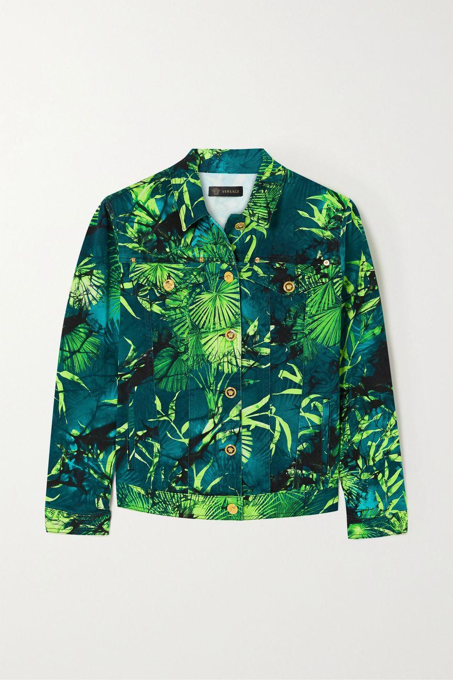 Versace Oversized printed denim jacket