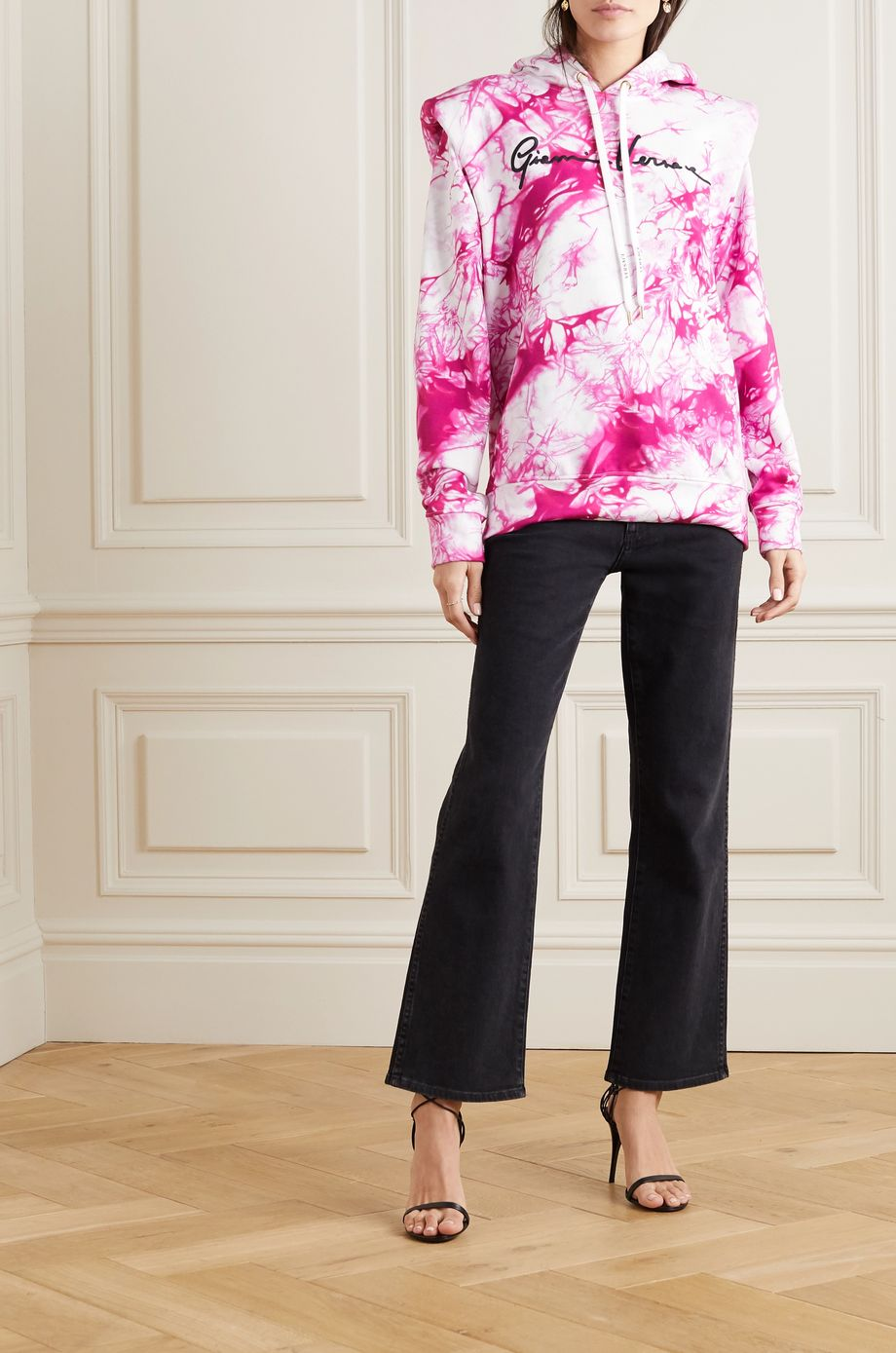 Versace Embroidered tie-dyed cotton-jersey hoodie