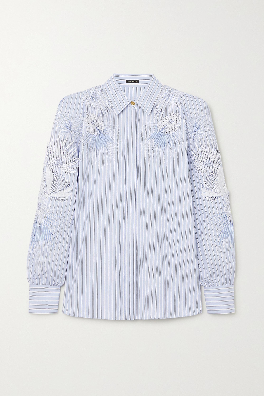 Versace Bluse aus gestreifter Baumwollpopeline mit Stickereien und Applikationen
