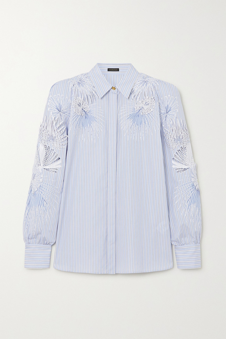 Versace Embroidered appliquéd striped cotton-poplin blouse