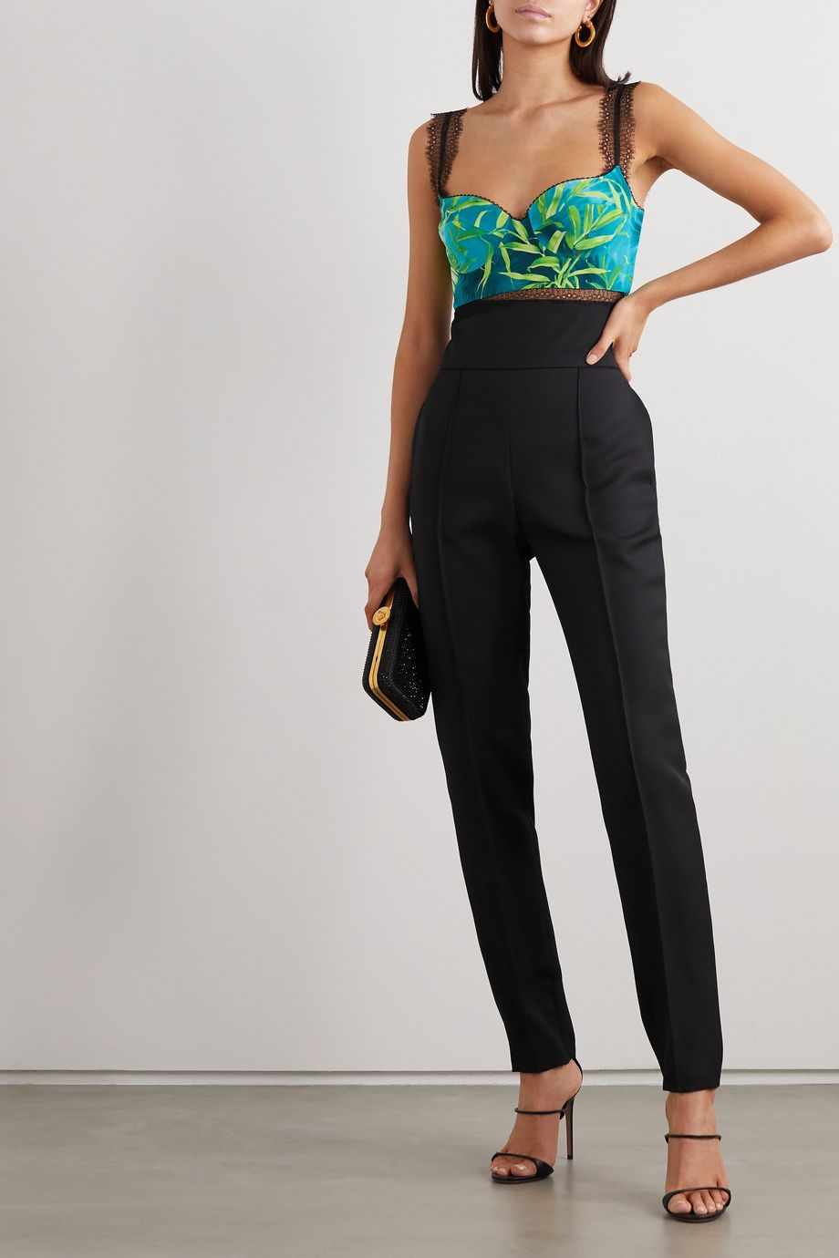 Versace Lace-trimmed printed silk-twill bustier top