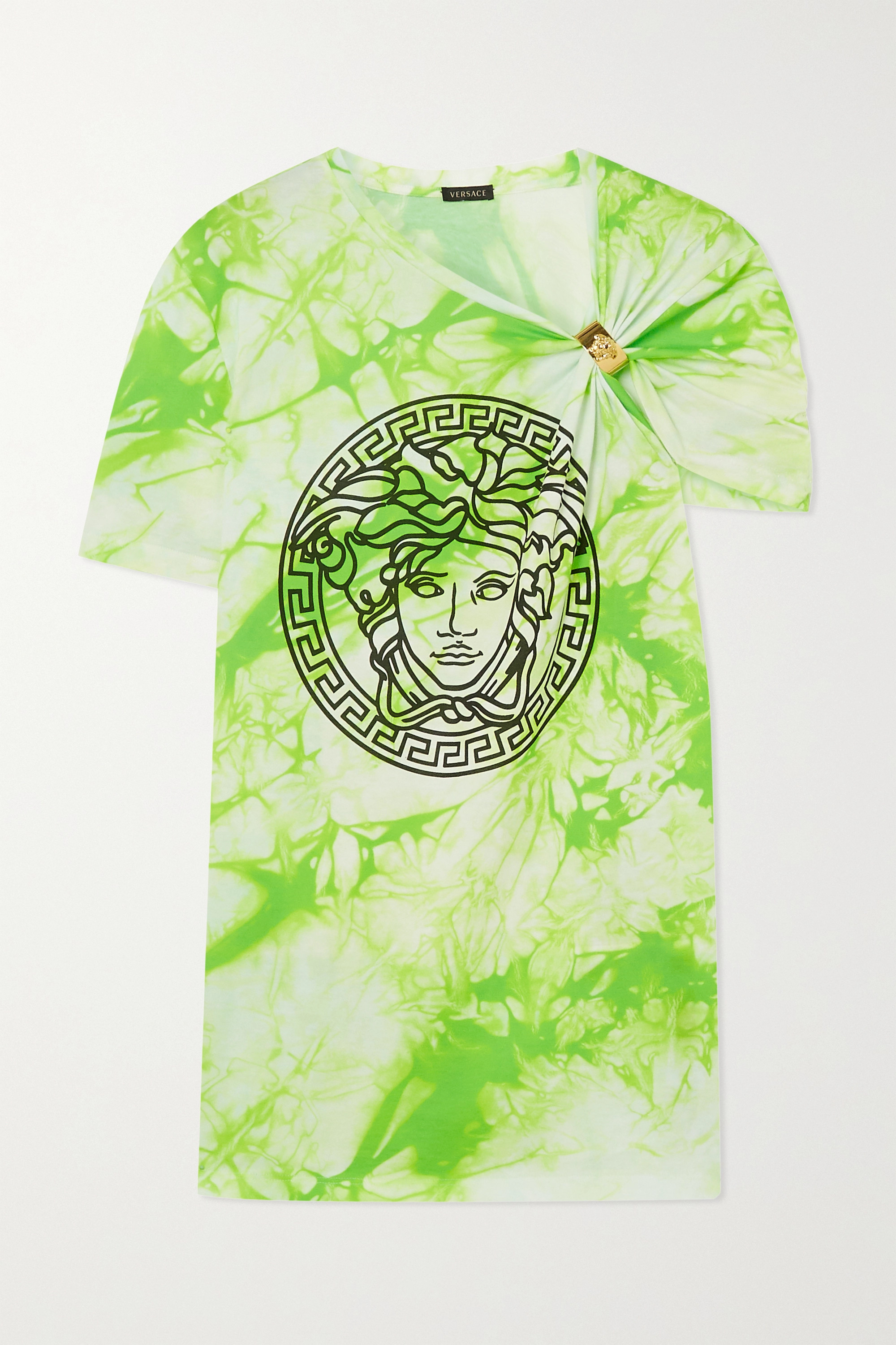 Versace Gathered printed tie-dyed cotton-jersey T-shirt