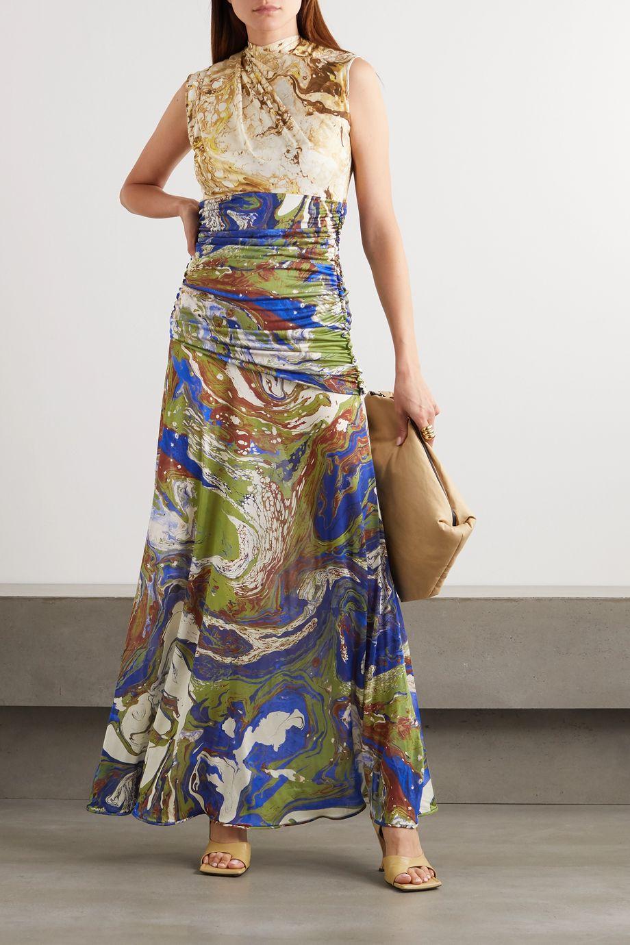 Jil Sander Draped printed silk maxi dress