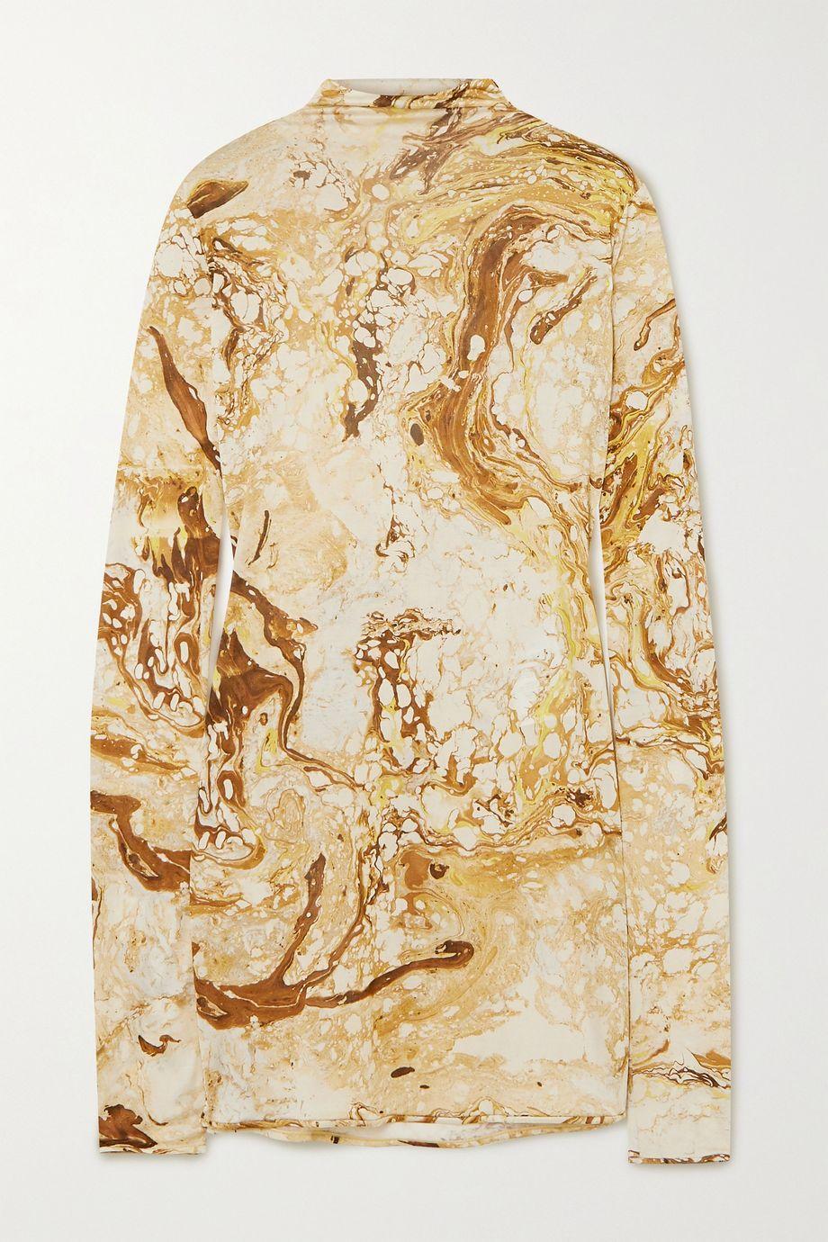 Jil Sander Draped printed silk-jersey top