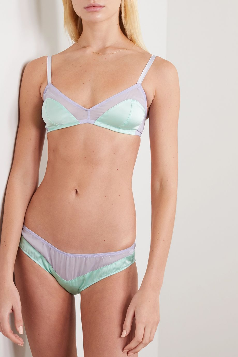 Araks + NET SUSTAIN Aaron stretch-silk satin and tulle briefs