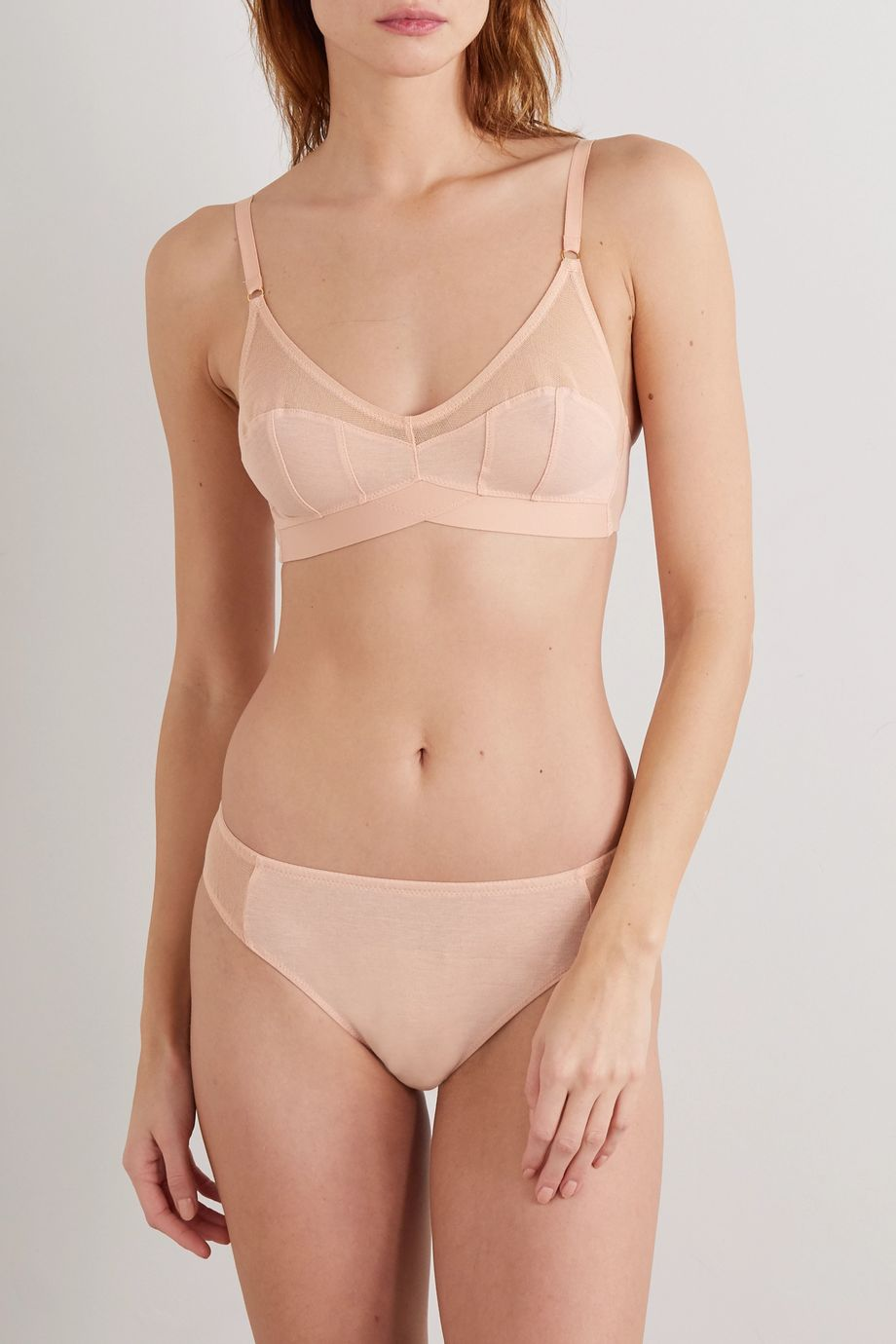 Araks + NET SUSTAIN Sevan cotton-jersey and mesh soft-cup triangle bra