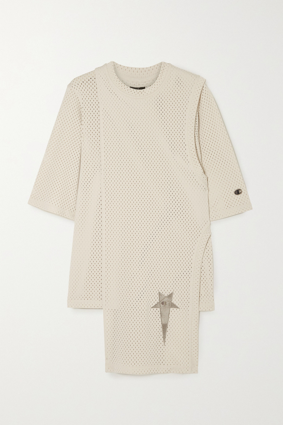 Rick Owens + Champion Toga layered embroidered mesh T-shirt