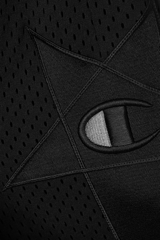 Rick Owens + Champion appliquéd mesh track pants