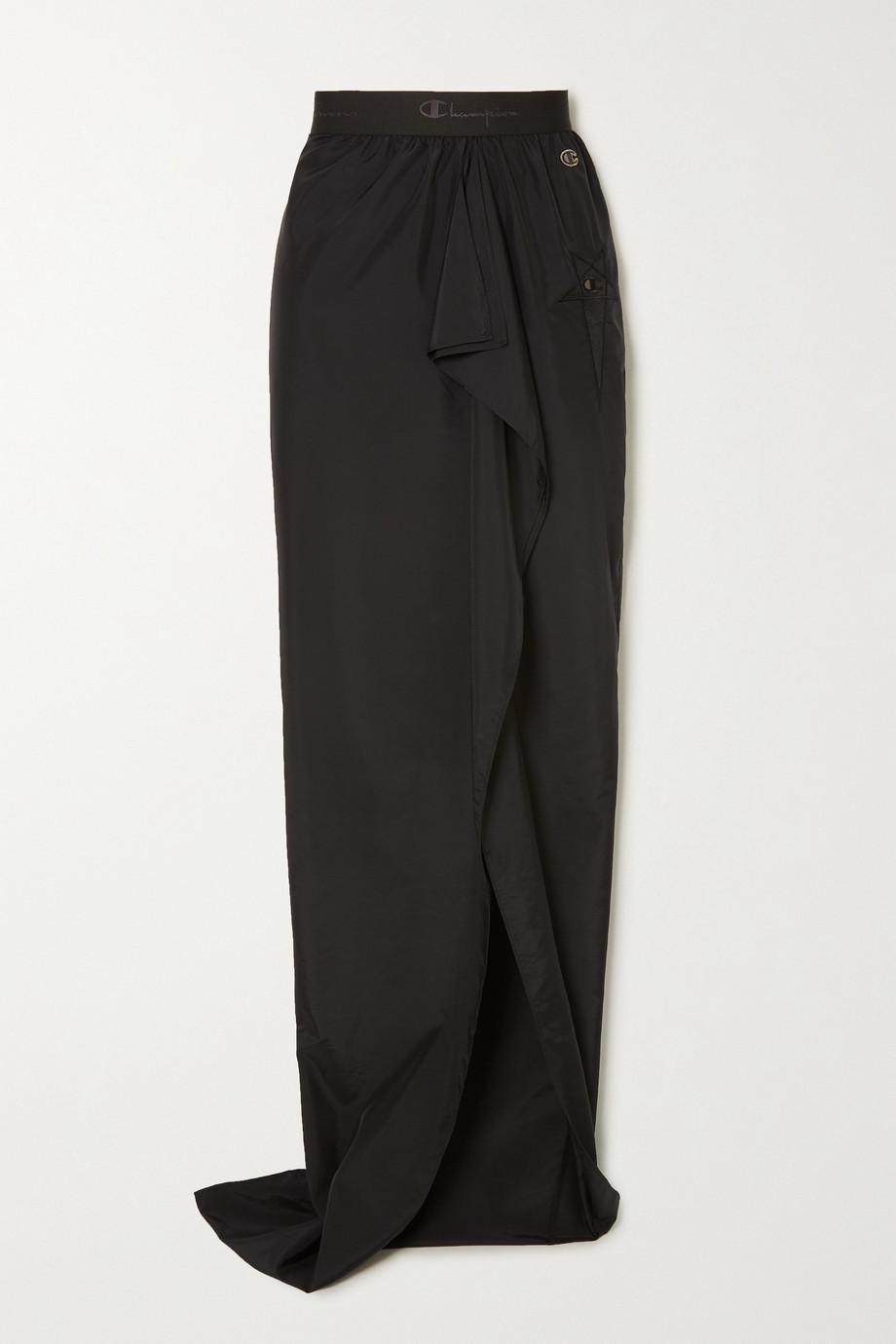 Rick Owens + Champion ruffled embroidered shell maxi skirt