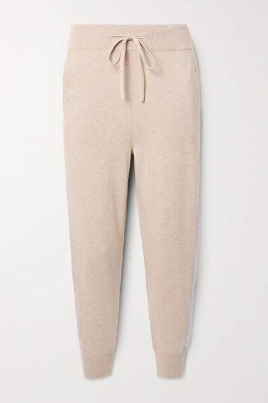Handvaerk Striped Pima Cotton And Cashmere-blend Track Pants In Beige