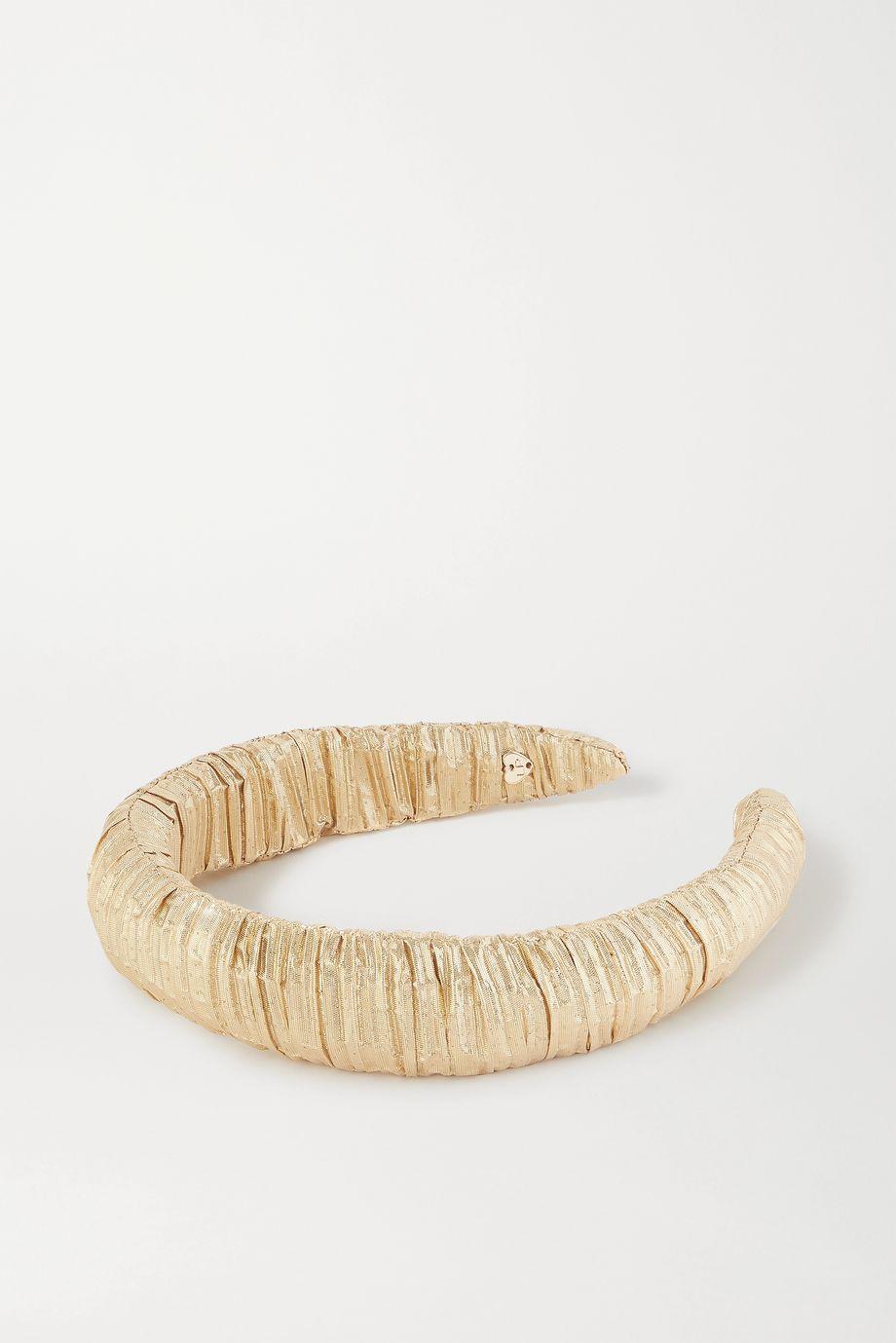 Loeffler Randall Marina metallic plissé-lamé headband