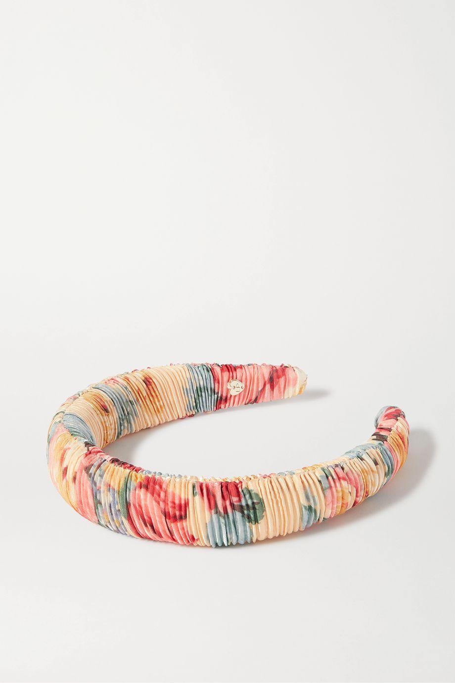 Loeffler Randall Marina ruched floral-print satin headband