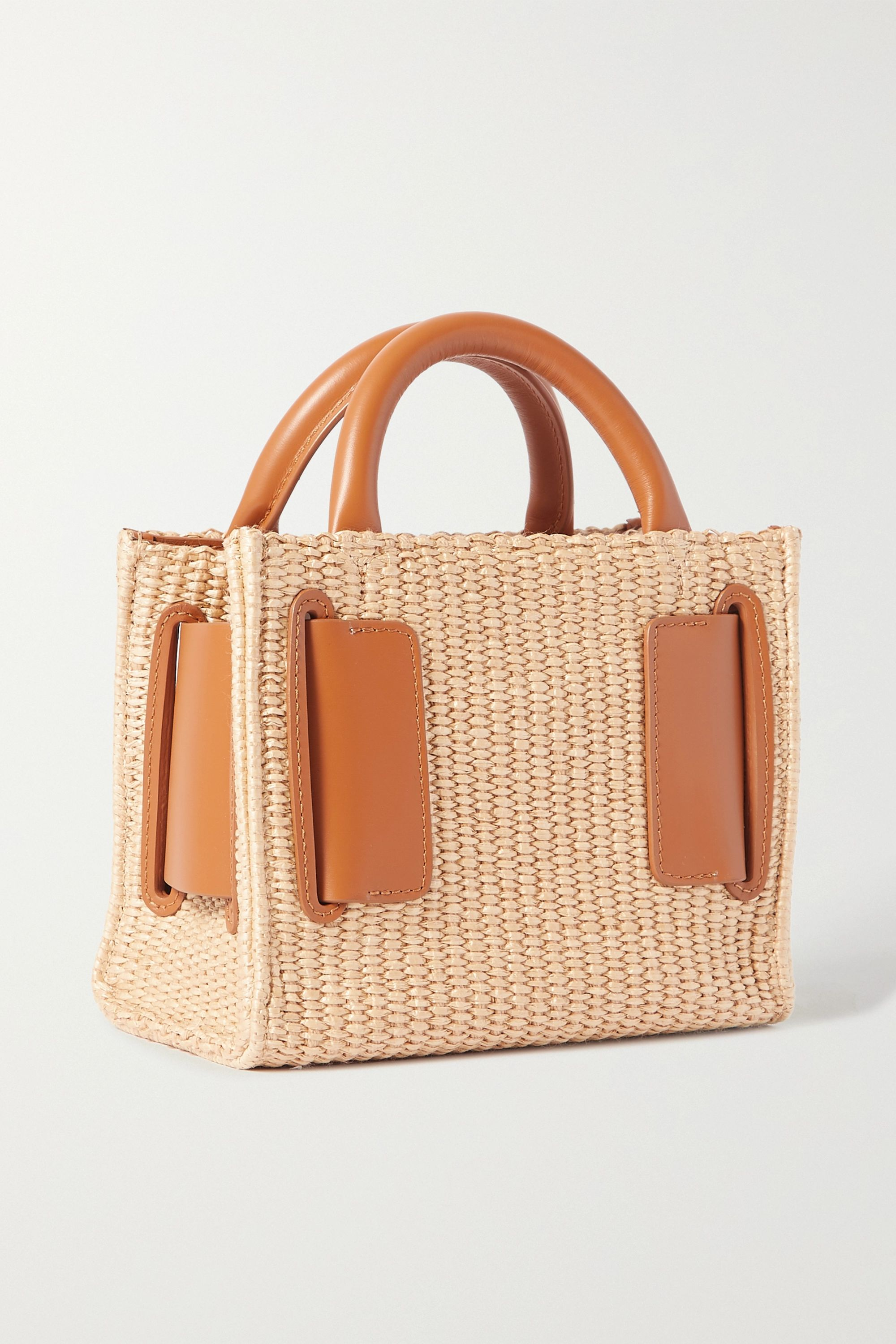 BOYY Bobby 18 buckled leather-trimmed raffia shoulder bag