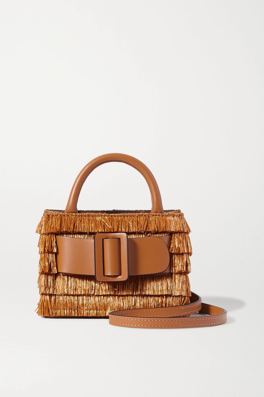 BOYY Bobby Surreal buckled leather-trimmed fringed raffia shoulder bag