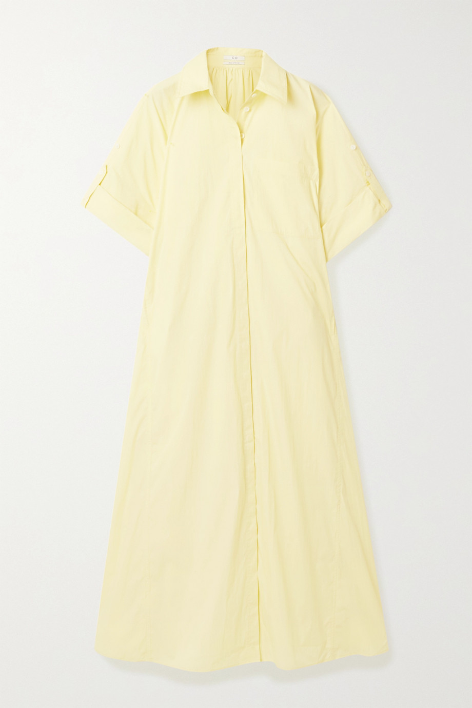 Co Gathered cotton-blend poplin shirt dress