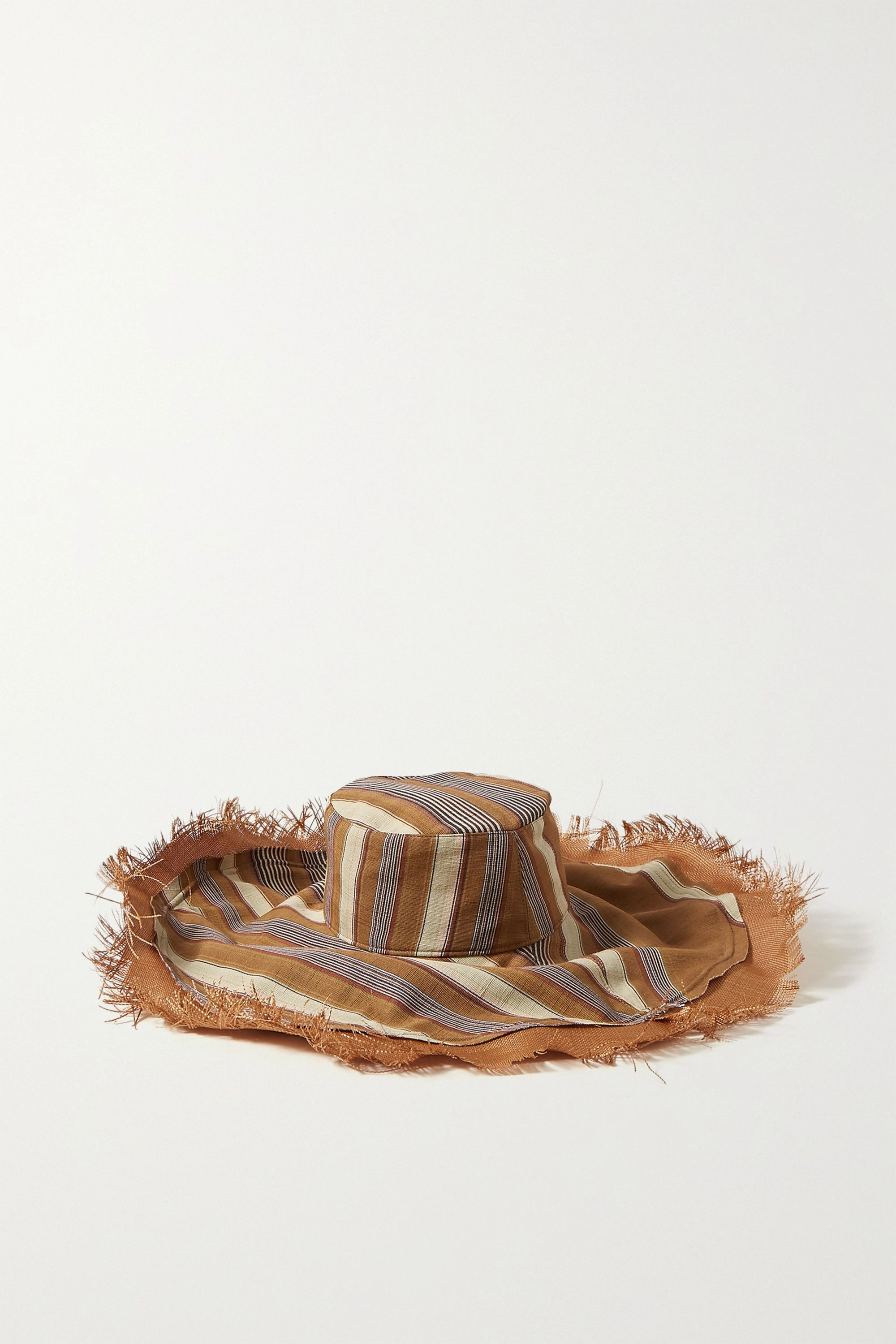 Etro Fringed striped silk and cotton-blend hat