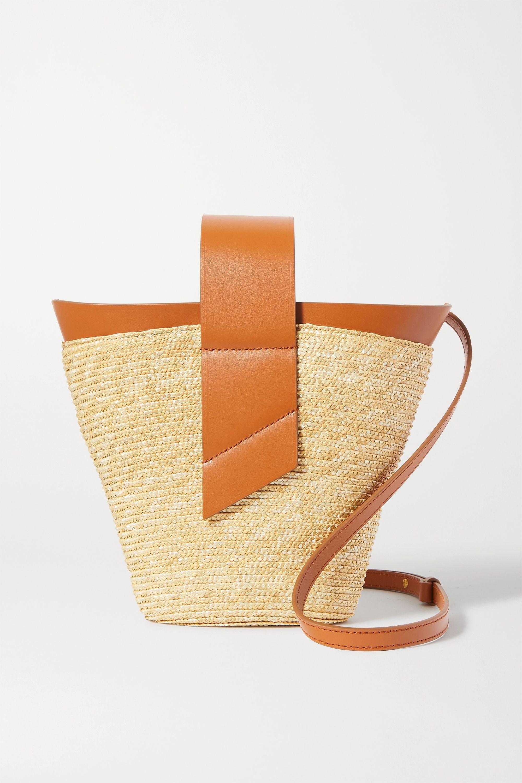 Carolina Santo Domingo Amphora leather-trimmed straw tote
