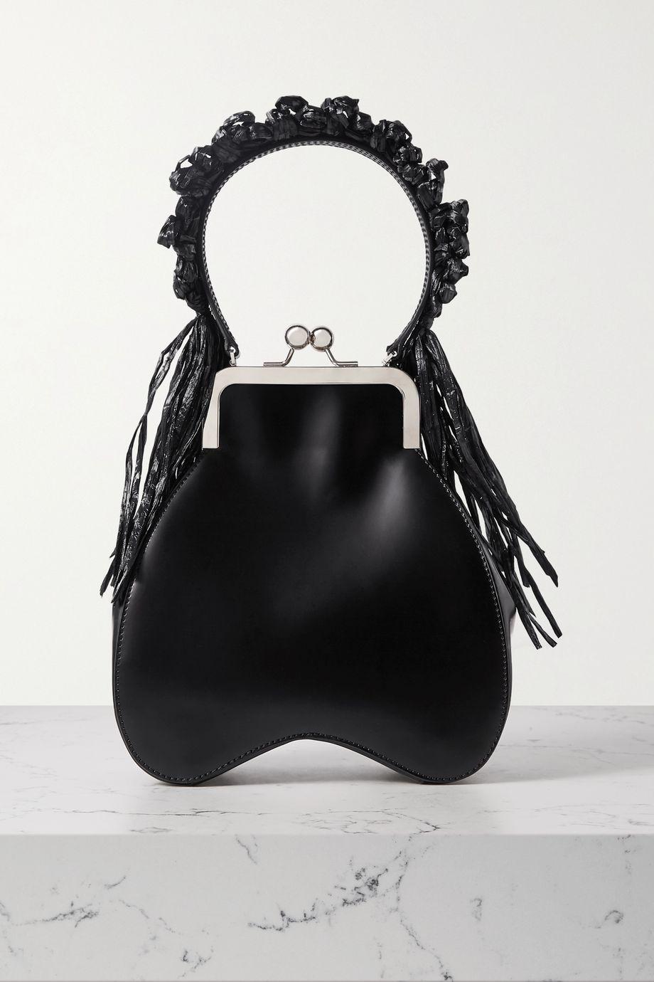 Simone Rocha Bead-embellished tasseled raffia and leather tote