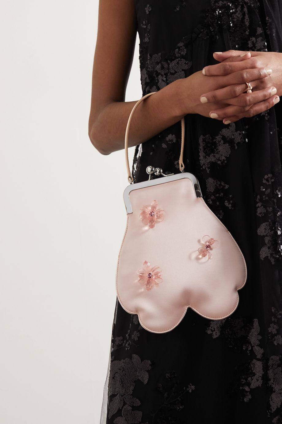 Simone Rocha Sac à main en satin à perles Flower Mini