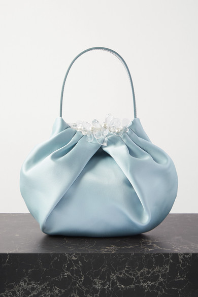 Simone Rocha Pvcs EMBELLISHED SATIN AND LEATHER TOTE