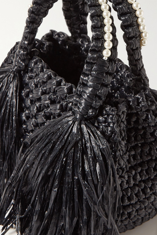 Simone Rocha Tasseled faux pearl-embellished raffia tote