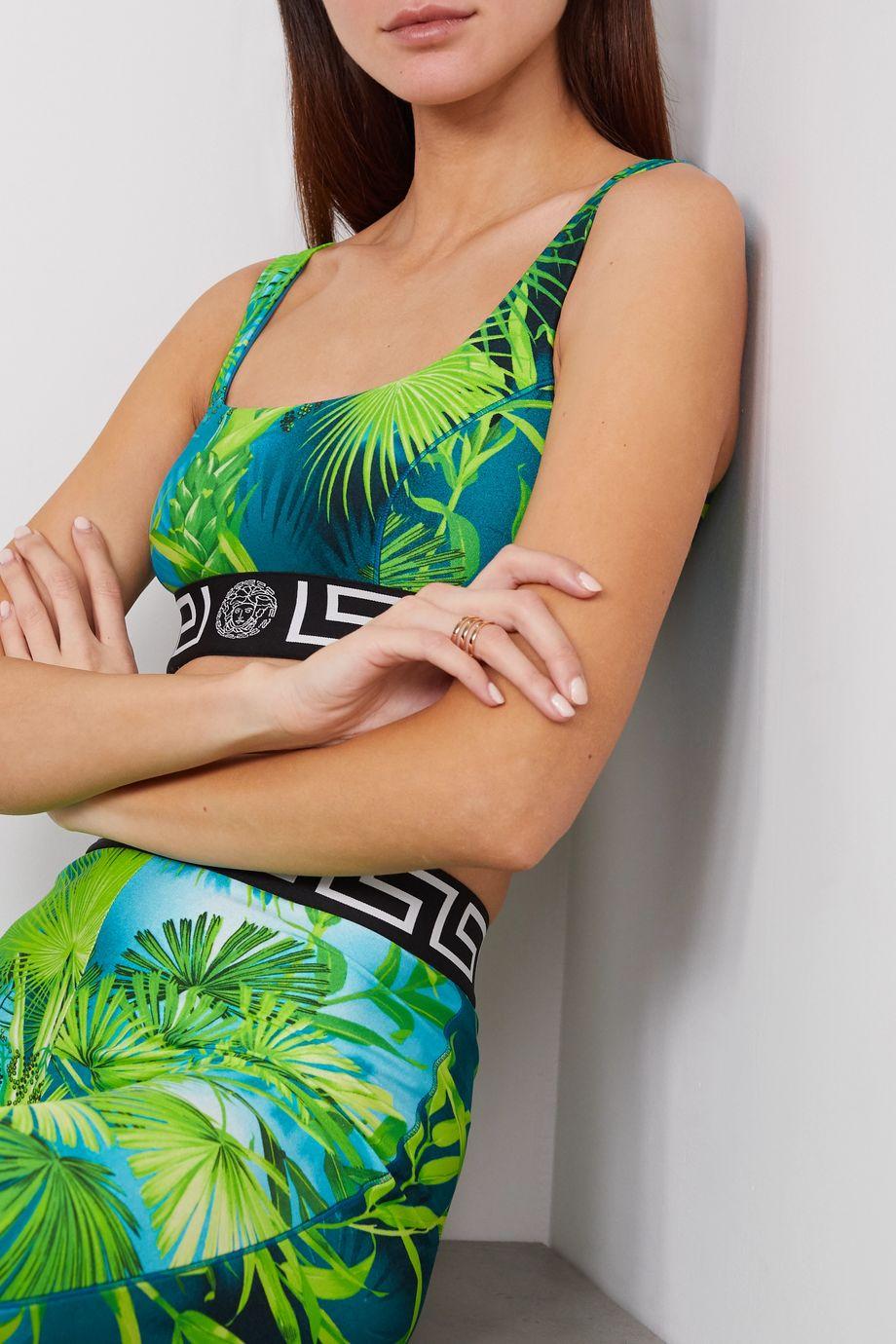 Versace Jacquard-trimmed printed stretch-jersey sports bra