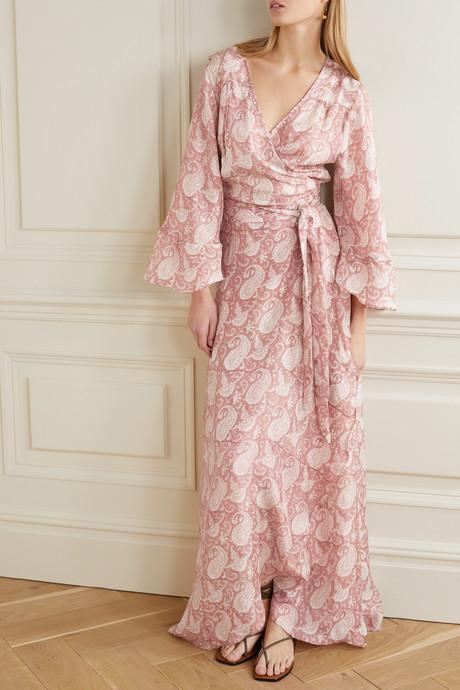 Luna ruffled paisley-print silk crepe de chine wrap dress