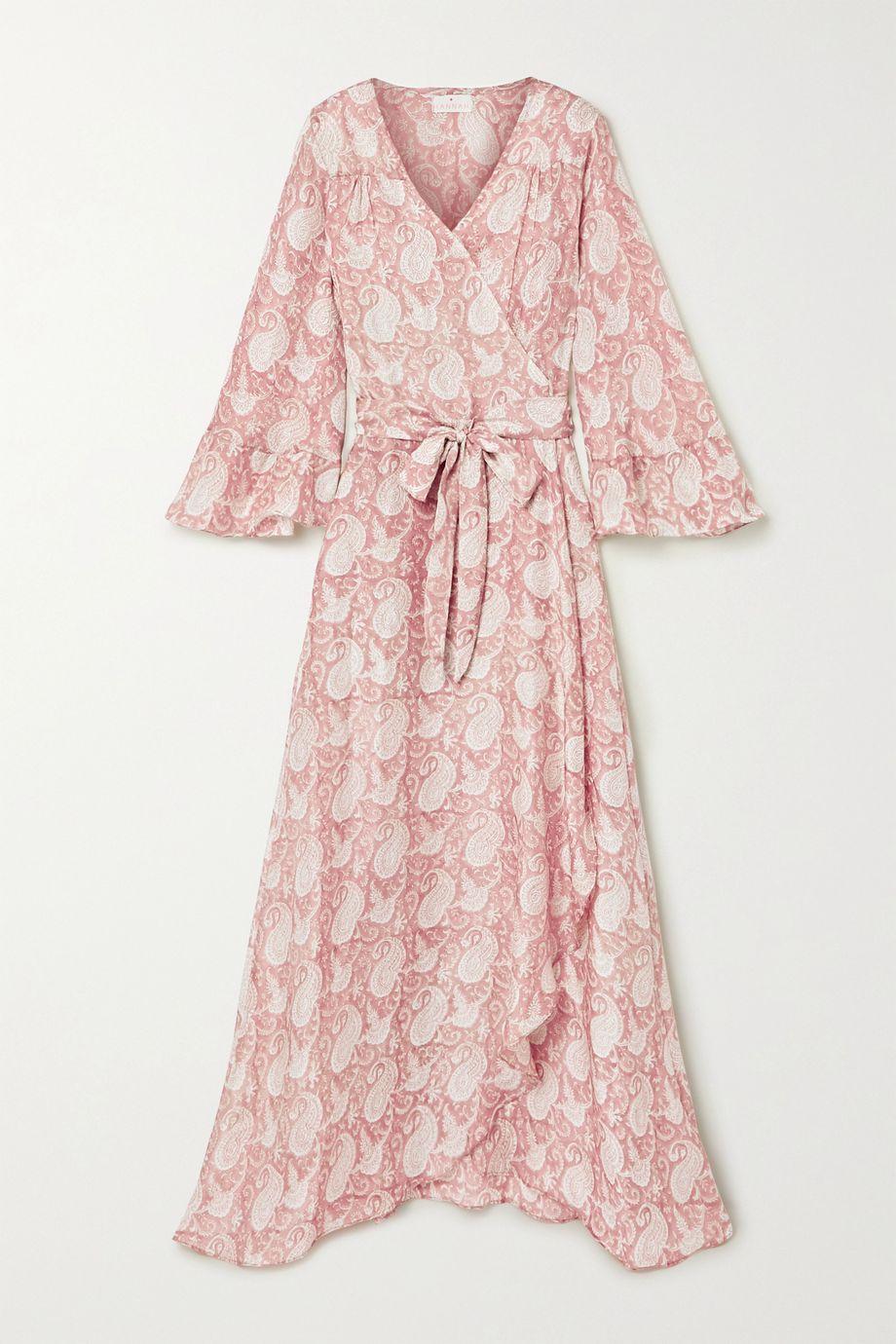 Hannah Artwear Luna ruffled paisley-print silk crepe de chine wrap dress