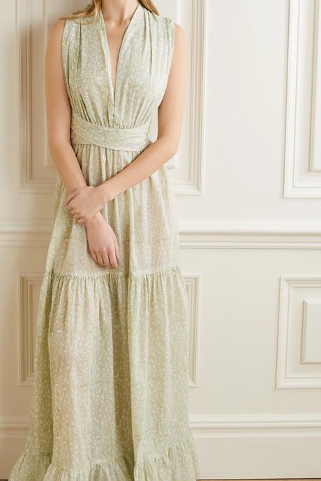 Portofino tiered floral-print cotton maxi dress