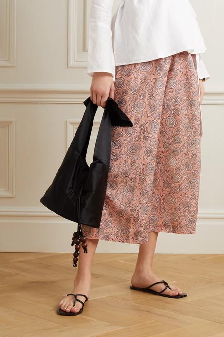 Floral-print silk crepe de chine pants