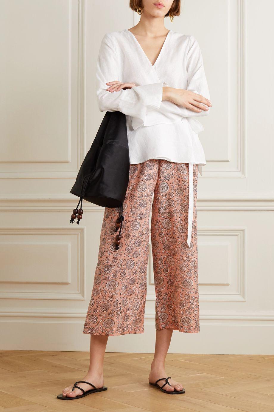 Hannah Artwear Floral-print silk crepe de chine pants