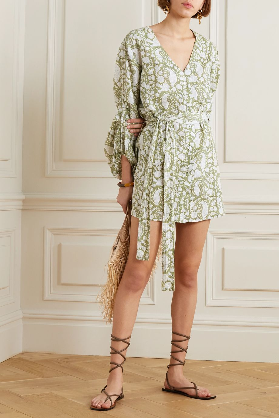 Hannah Artwear Ischia belted printed linen mini dress