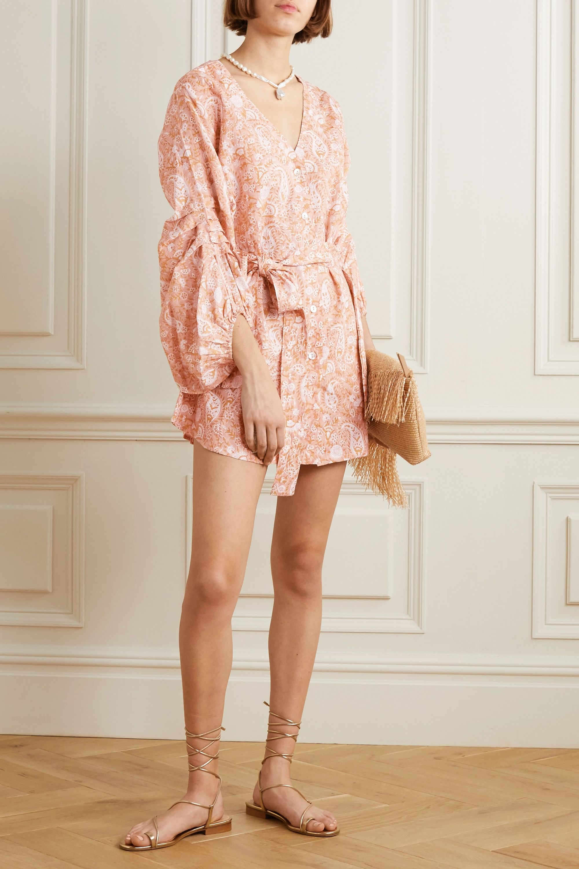 Hannah Artwear Ischia belted printed linen mini dress
