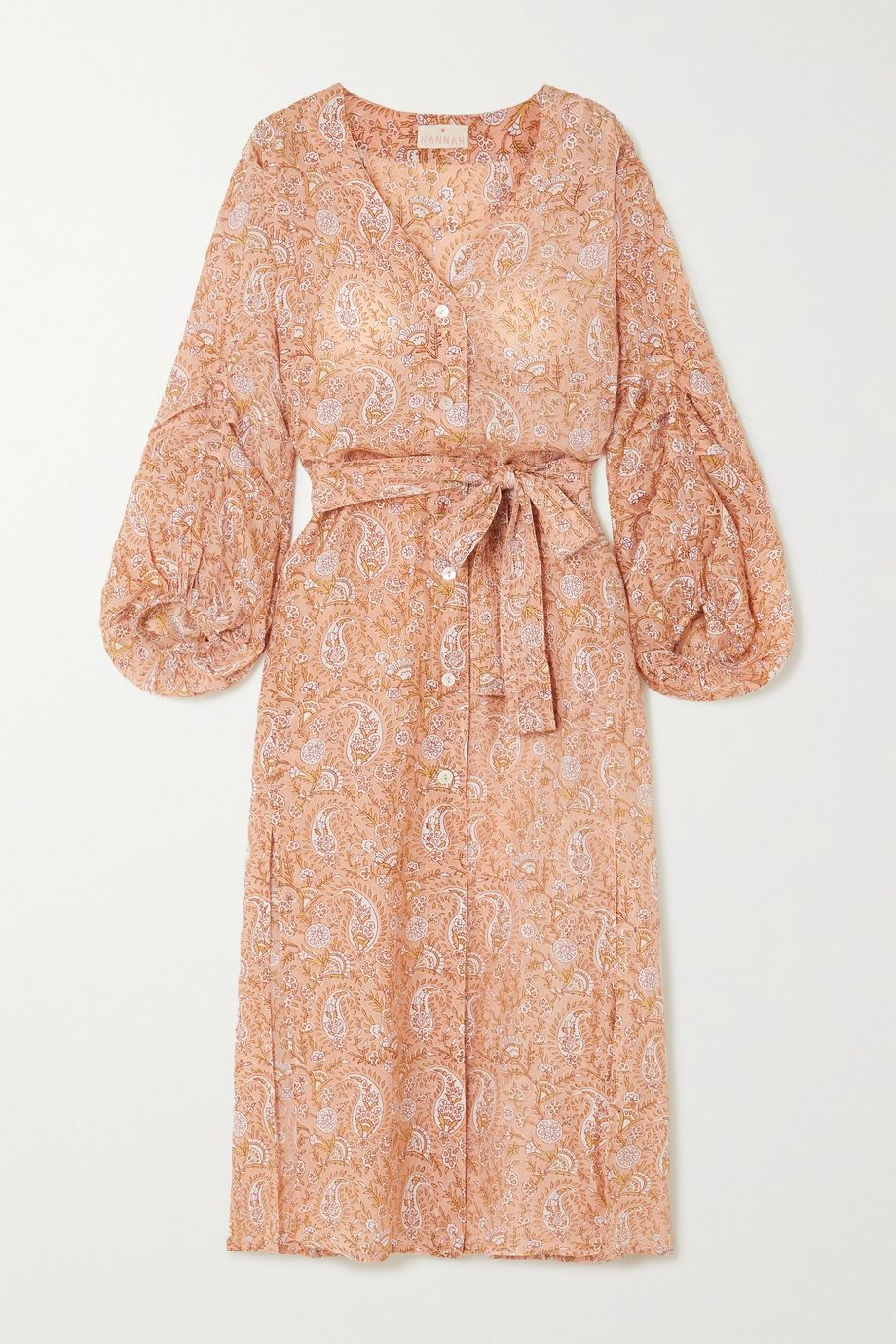 Hannah Artwear Paraggi belted printed silk crepe de chine midi dress
